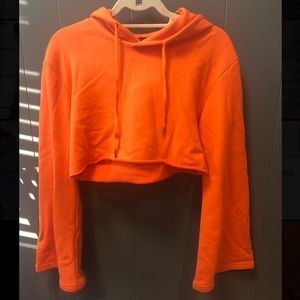 Cropped Hoodie with Bell Sleeves